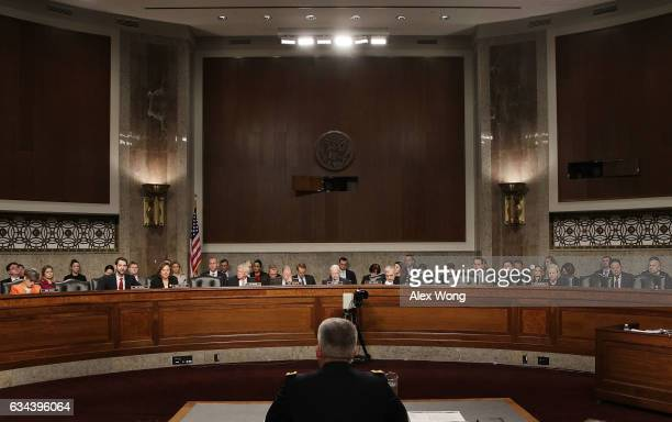 Army Gen. John Nicholson, commander of Resolute Support of United States Forces, testifies during a hearing before Senate Armed Services Committee...