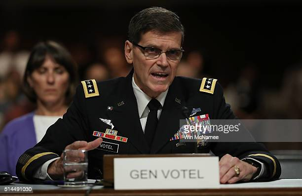 Army Gen. Joseph Votel, nominee to be the next commander of the U.S. Central Command, testifies before the Senate Armed Services Committee March 9,...
