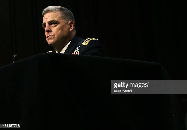 Army Gen Mark A Milley listens to questions during his Senate Armed Services Committee confirmation hearing on Capitol Hill July 21 2015 in...