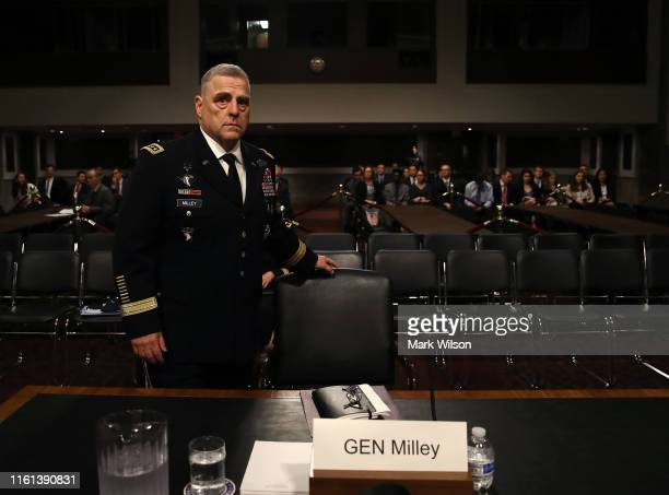 S Army Gen Mark A Milley prepares to testify before the Senate Armed Services Committee on his nomination to be chairman of the Joint Chiefs of Staff...