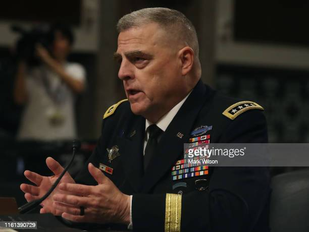 S Army Gen Mark A Milley testifies before the Senate Armed Services Committee on his nomination to be chairman of the Joint Chiefs of Staff on...