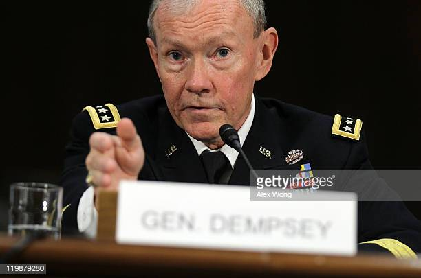 Army Gen. Martin Dempsey testifies during his confirmation hearing before Senate Armed Services Committee July 26, 2011 on Capitol Hill in...