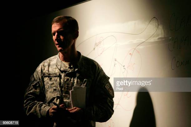 S Army Gen Stanley McChrystal the top US commander in Afghanistan speaks to the military at the US base Kandahar Airfield December 2 2009 in Kandahar...