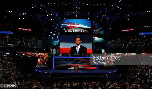 S Army General Eric Shinseki speaks during day two of the Democratic National Convention at Time Warner Cable Arena on September 5 2012 in Charlotte...