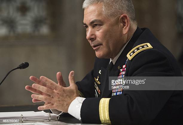 US Army General John Campbell commander of the International Security Assistance Force US Forces Afghanistan testifies on the situation in...