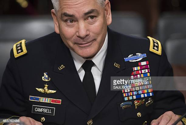 US Army General John Campbell commander of the International Security Assistance Force US Forces Afghanistan arrives to testify on the situation in...