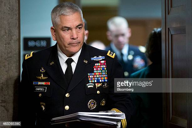 Army General John Campbell commander of the US forces in Afghanistan arrives to a Senate Armed Services Committee hearing in Washington DC US on...