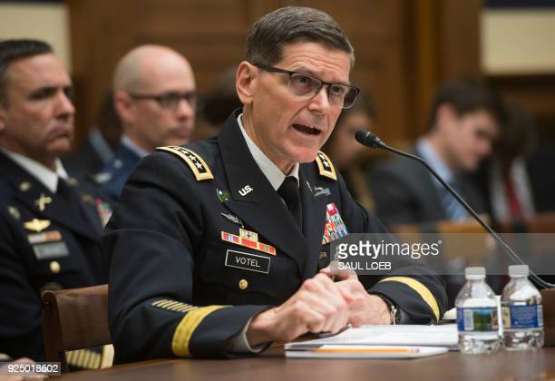 US Army General Joseph Votel commander of the US Central Command testifies during a House Armed Services Committee hearing on Capitol Hill in...