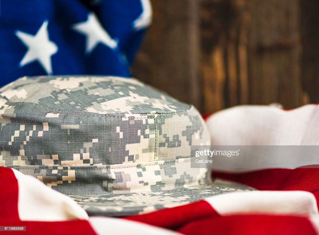 US Army hat on American flag. American military patriotism   Stock Photo 663abac5e0f