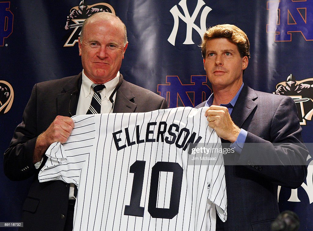 Army head coach Rich Ellerson and New York Yankees Managing General Partner Hal Steinbrenner pose for a photograph during a press conference announcing that Yankee Stadium will play host to the 2010 Notre Dame v Army college football game on July 20, 2009 at Yankee Stadium in the Bronx borough of New York City. The game is to be played on November 20, 2010.