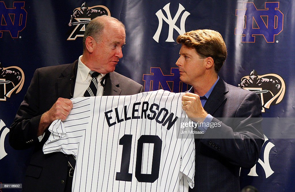Army head coach Rich Ellerson and New York Yankees Managing General Partner Hal Steinbrenner pose for a photograph during a press conference announcing that Yankee Stadium will play host to the 2010 Notre Dame v Army college football game on July 19, 2009 at Yankee Stadium in the Bronx borough of New York City. The game is to be played on November 20, 2010.