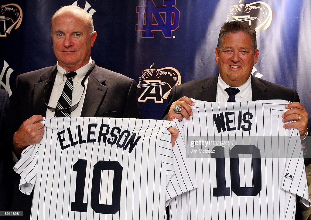 Army head coach Rich Ellerson and Notre Dame head coach Charlie Weiss pose during a press conference announcing that Yankee Stadium will play host to the 2010 Notre Dame v Army college football game on July 20, 2009 at Yankee Stadium in the Bronx borough of New York City. The game is to be played on November 20, 2010.