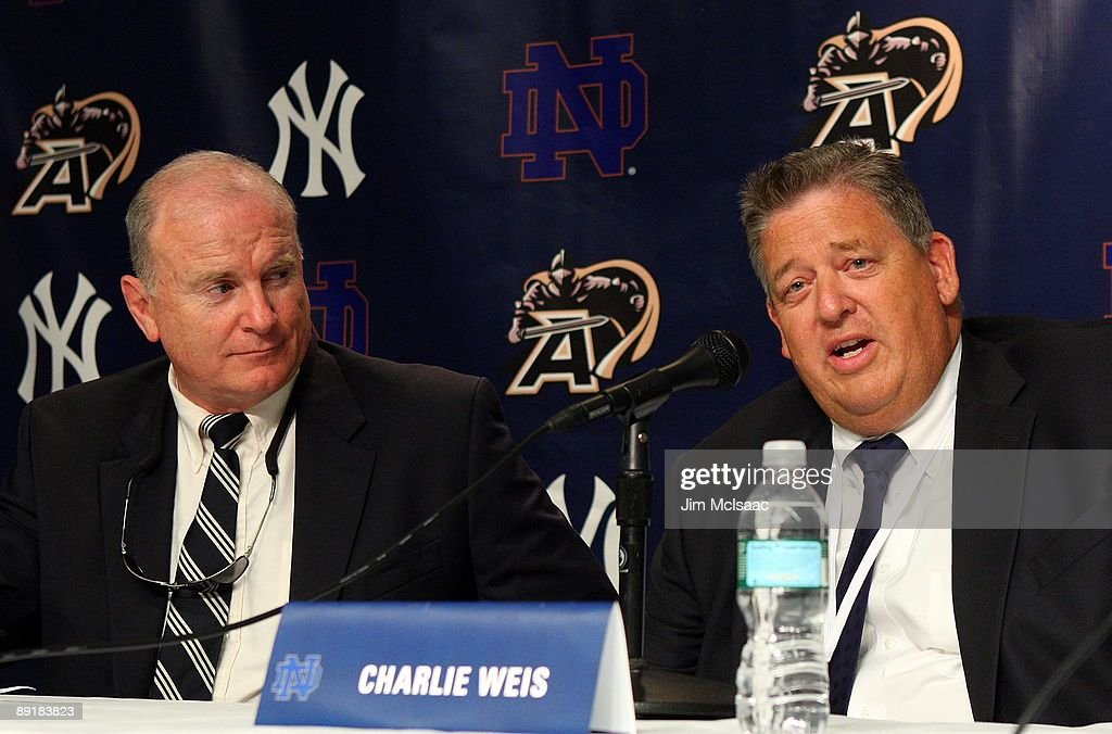 Army head coach Rich Ellerson (L) and Notre Dame head coach Charlie Weiss speak during a press conference announcing that Yankee Stadium will play host to the 2010 Notre Dame v Army college football game on July 19, 2009 at Yankee Stadium in the Bronx borough of New York City. The game is to be played on November 20, 2010.