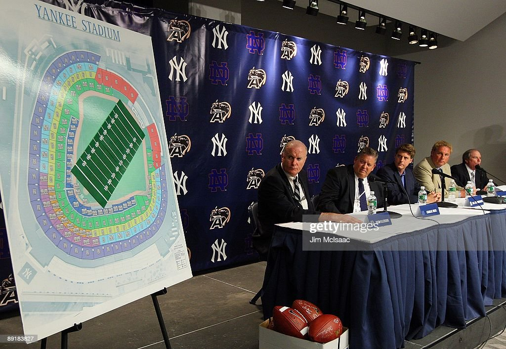 Army head coach Rich Ellerson, Notre Dame head coach Charlie Weiss, New York Yankees Managing General Partner Hal Steinbrenner, Yankees President Randy Levine, and Chief Operating Officer Lonn Trost attend a press conference announcing that Yankee Stadium will play host to the 2010 Notre Dame v Army college football game on July 19, 2009 at Yankee Stadium in the Bronx borough of New York City. The game is to be played on November 20, 2010.