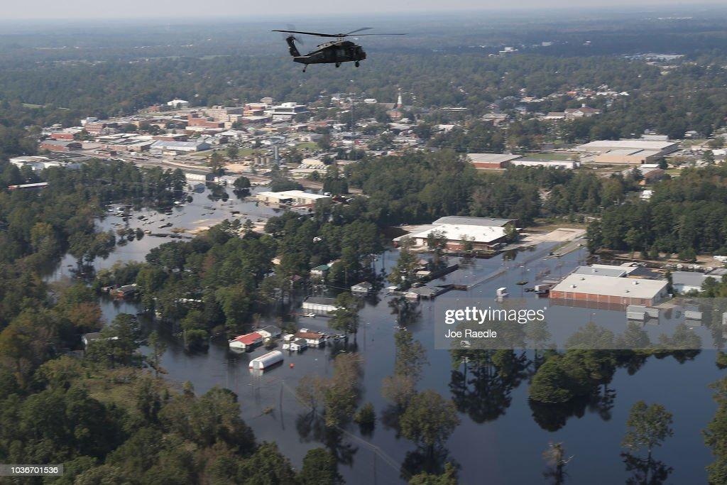 U.S. Military Surveys Flood Damage After Hurricane Florence : News Photo