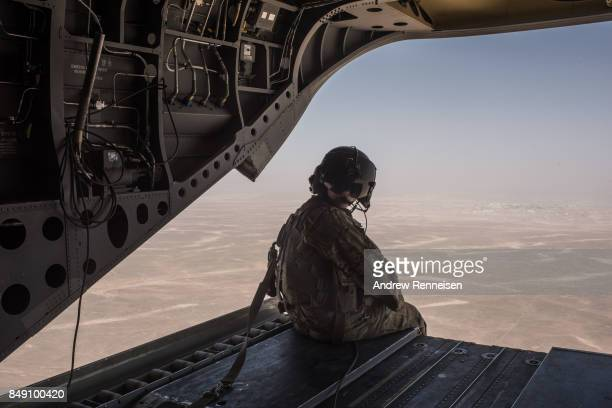 S Army helicopter flies outside of Camp Shorab on a flight to Camp Post on September 11 2017 in Helmand Province Afghanistan About 300 marines are...