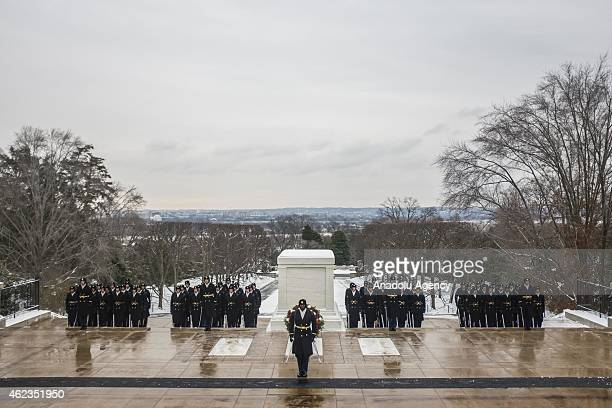 S Army Honor Guard is seen after a wreathlaying ceremony in which General Hulusi Akar commander of the Turkish Land Forces and Major General Jeffrey...