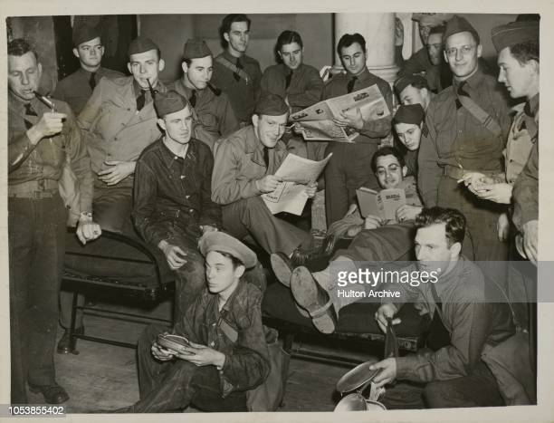 US Army In London A contingent of several hundred American troops are visitin London from Northern Ireland American troops relax and read up English...