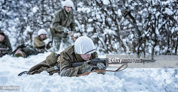 wwii us army infantry combat soldier returning enemy fire - gunshot wound stock photos and pictures