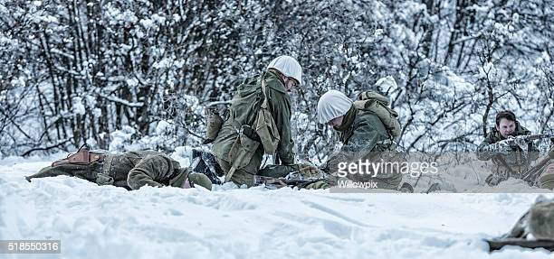 wwii us army infantry combat wounded casualties triage - gunshot wound stock photos and pictures
