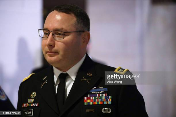 Army Lieutenant Colonel Alexander Vindman Director for European Affairs at the National Security Council arrives at a closed session before the House...