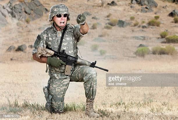 Army Lieutenant Yelling Orders on Battlefield