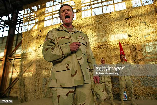 US Army Lt General Robert B Flowers Army Chief of Engineers yells Essayons the Army Engineers'' historic battle cry after awarding Bronze Star Medals...