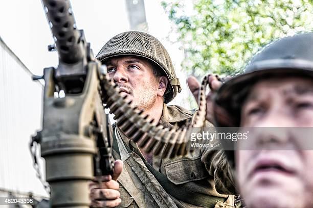 WWII US Army M1919 Browning .30 Caliber Machine Gunner