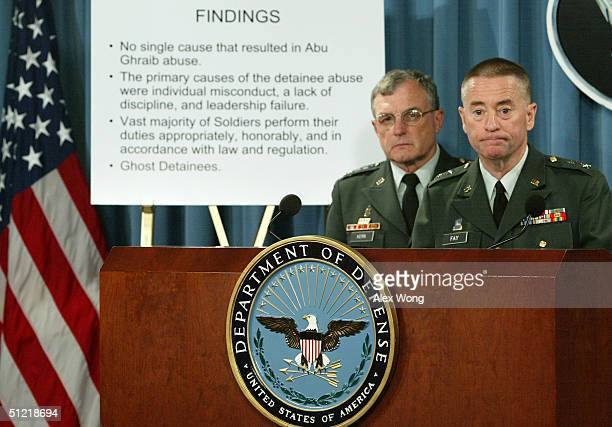 S Army Maj Gen George R Fay and Gen Paul J Kern members of a military panel to investigate cases of detainee abuse at Abu Ghraib prison in Iraq...
