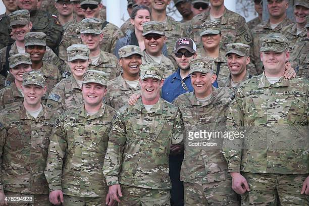 S Army Major General Stephen Townsend commanding general of Combined Joint Task Force 10 and Regional Command East commander poses for a picture with...