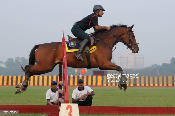 Army men display their Equestrian skills during to mark the 46th anniversary of Vijay Diwas at RCTC ground on December 14 2017 in Kolkata India Vijay...