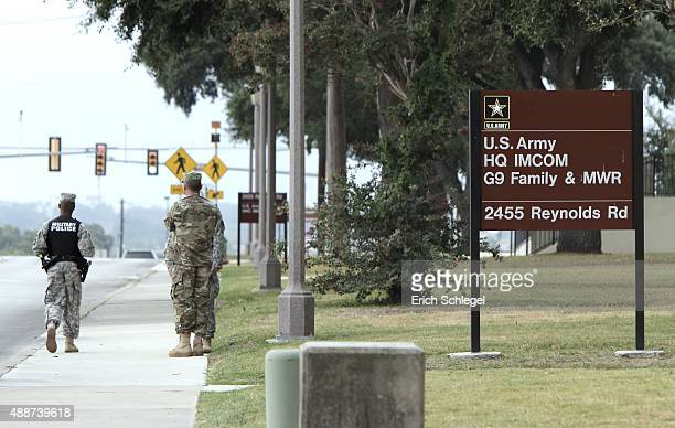 S Army military policeman patrols the area around the US Army Installation Management Command at Fort Sam Houston where the US Army holds Article 32...