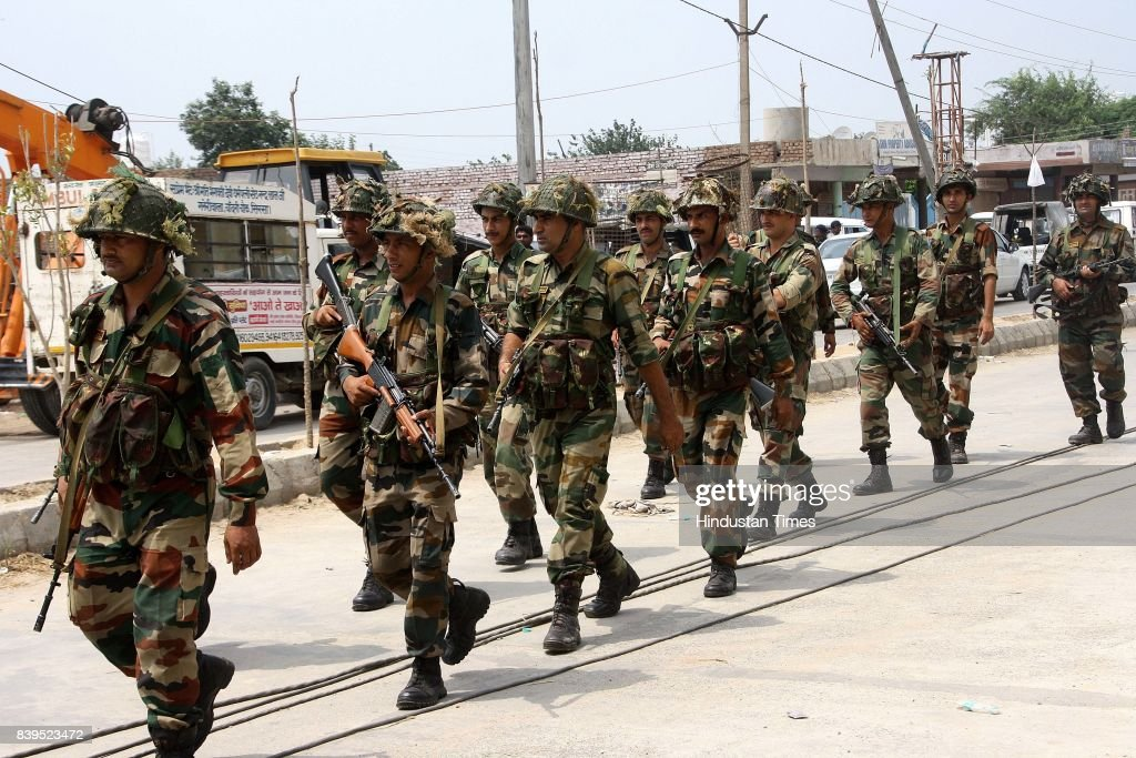Army moving towards the dera to carry out operation on the next day of verdict of Dera Sacha Sauda Chief Gurmeet ram Rahim Singh in rape on August 26.