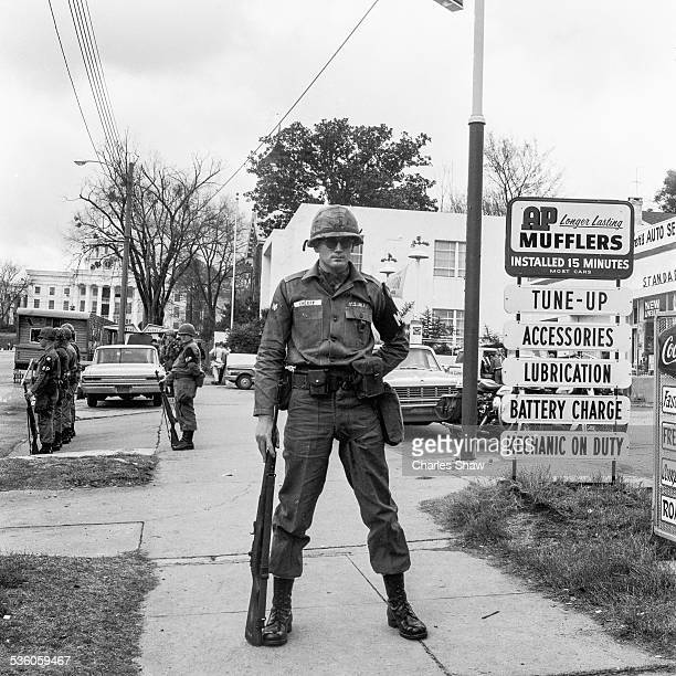 US Army MPs stand guard on Dexter Avenue on the day that the Selma to Montgomery March arrived at the Alabama State Capitol later in the day...