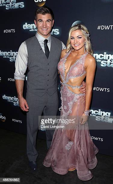 Army National Guard Specialist Alek Skarlatos and dancer/TV personality Lindsay Arnold attend ABC's Dancing with the Stars photo op at CBS Studios on...