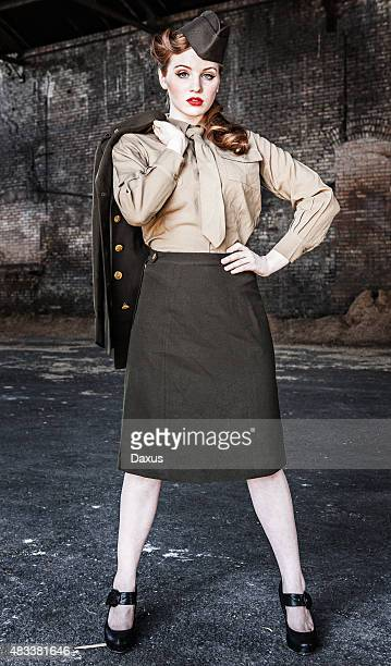 army nurse wwii - dress uniform - 1940s erotica stock photos and pictures