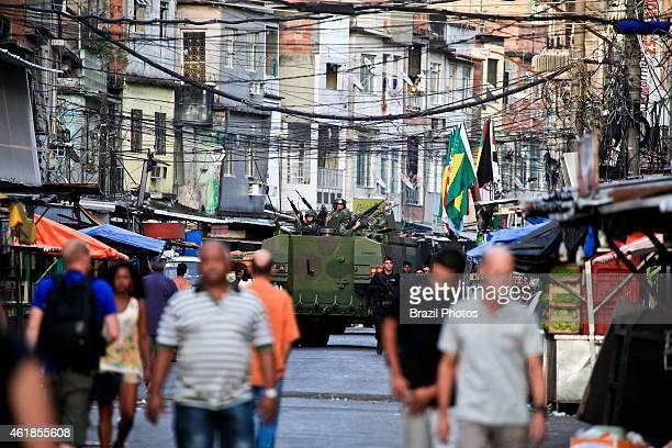 Army occupation of Complexo da Maré, a deprived slum area near the Rio de Janeiro International Airport, part of the Government policy of public...