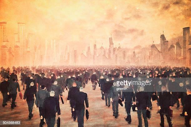 estremécete de miedo con zombies ejército de empresarios caminando en la ciudad de negocios - zombie fotografías e imágenes de stock