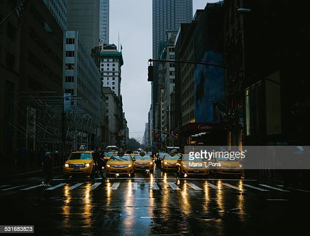 Army of cabs in the rain