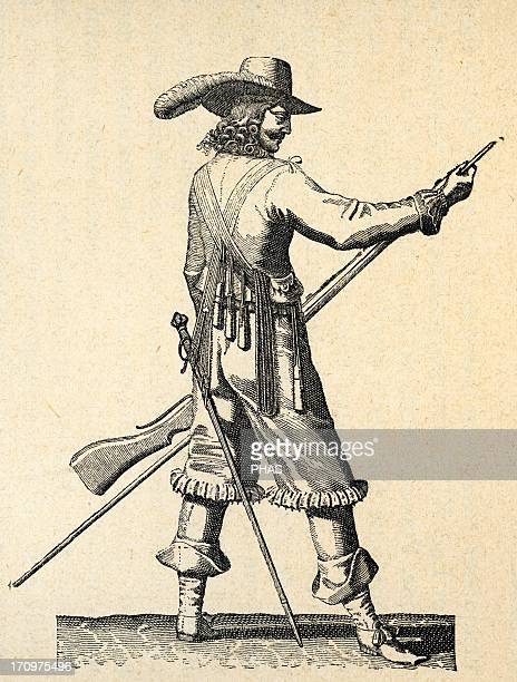 Army of the 18th century France Musketeer of the Infantry of Louis XIV charging the musket Engraving