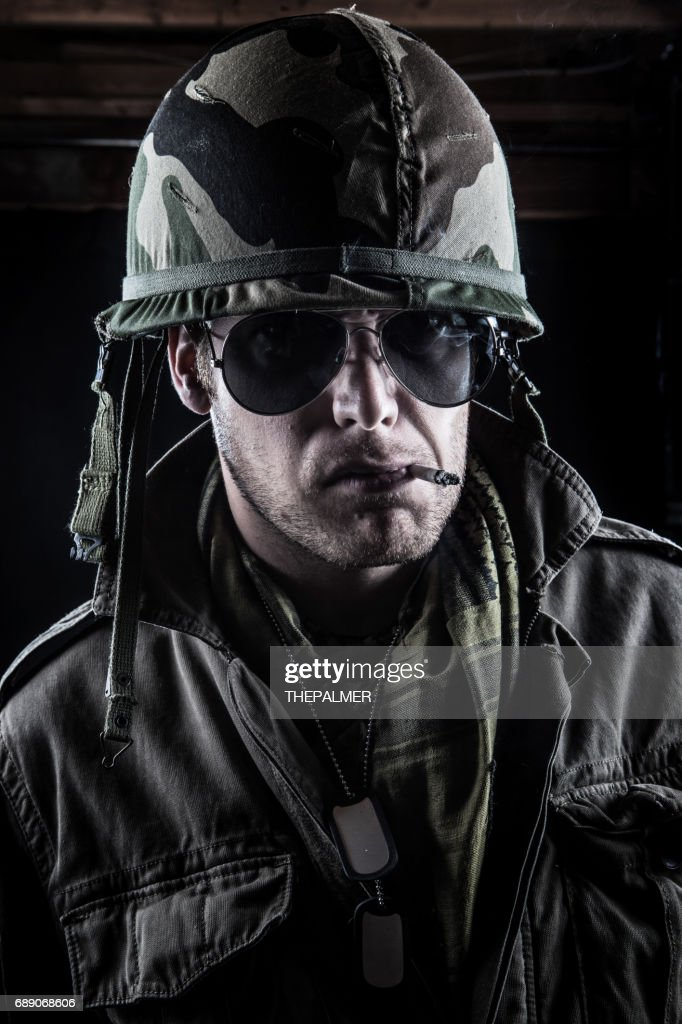 Army officer in camo : Stock Photo
