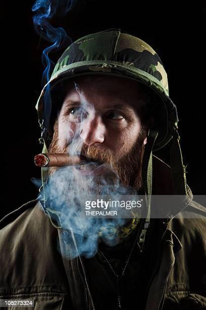 army officer smoking a cigar