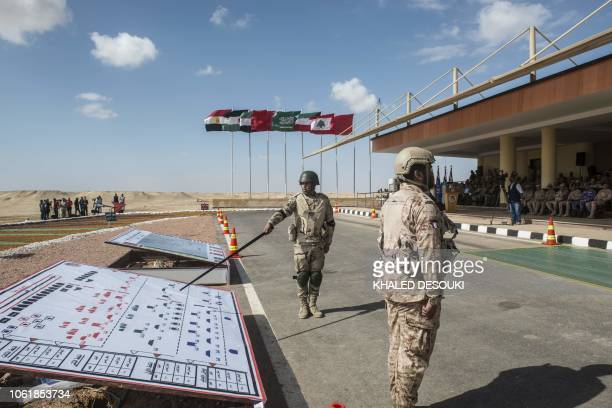 Army officers attend the Arab Shield joint military exercises at Mohamed Naguib military base in ElHamam near the Mediterranean coast about 240...
