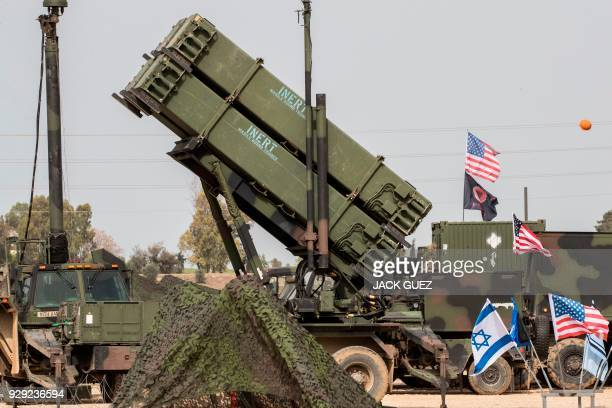 US army officers stands in front a US Patriot missile defence system during a joint IsraeliUS military exercise Juniper Cobra at the Hatzor Airforce...
