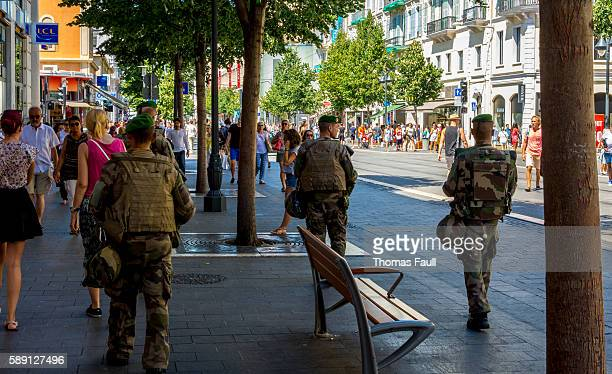 army on the streets of nice, france after terrorist attack - french foreign legion photos et images de collection