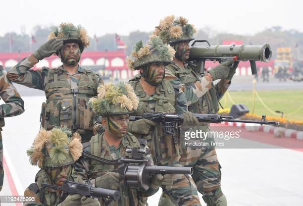 Army Para commandos in action during the full-dress rehearsal for their forthcoming Army Day at Parade Ground, Delhi Cantonment, on January 13, 2020...
