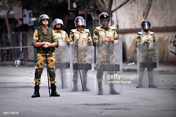 Dec 2, 2011: Army personnel guarding Ministry of Interior headquarters following clashes between protesters and police. At least 47 were killed...