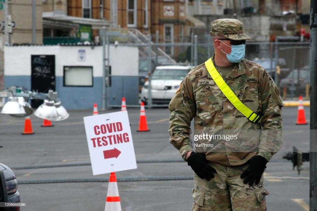 Coronavirus (COVID-19) Test Site Opens In Flatbush Brooklyn : News Photo