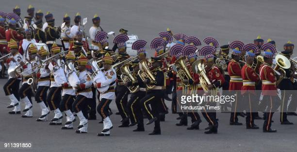 Army Pipes Drums band performs during the rehearsals for beating retreat ceremony celebrations 2018 at Vijay Chowk in New Delhi India The Beating...