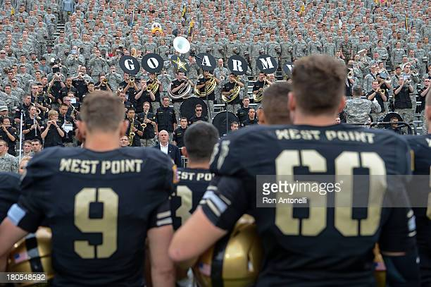 Army players line up for the alma mater at the end of the game September 14 2013 at Michie Stadium in West Point New York Stanford defeated Army 2420